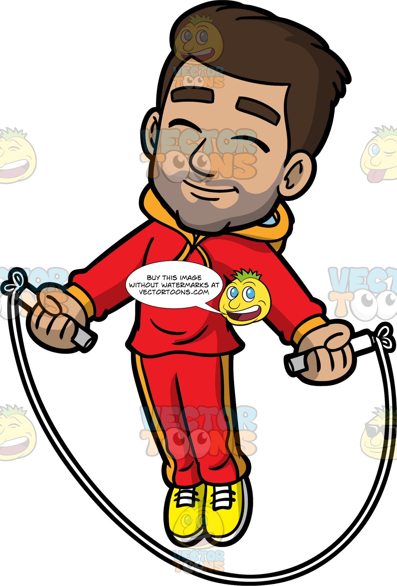 Gabriel Jumping Rope. A Hispanic man wearing red track pants, a red hoodie, and yellow running shoes, smiling and closing his eyes while jumping over a skipping rope