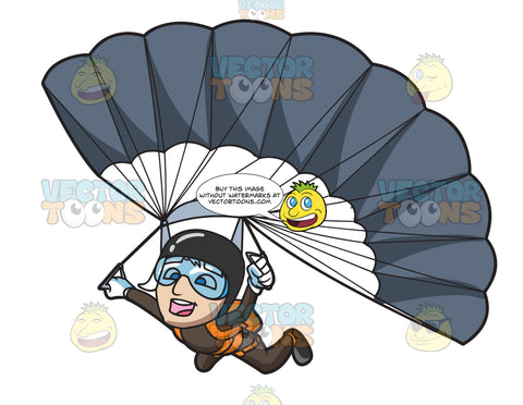 A Male Skydiver Gliding Down To The Ground With His Parachute Open
