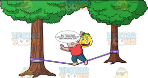 Sam Trying To Walk Across A Slackline. A chubby man wearing blue pants and a light red shirt, balances on one foot and holds his arms out to try and balance himself while walking across a slackline