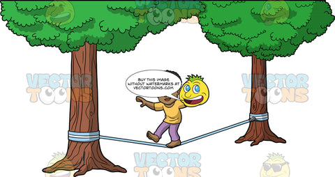 Jimmy Balancing On One Foot On A Slackline. A black man wearing lavender pants and a mustard yellow t-shirt balancing on one foot while attempting to walk across a light blue slackline