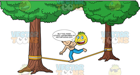 Simon Balancing On A Slackline. An Asian man wearing blue pants, no shirt, and eyeglasses, balancing on one foot as he tries to make his way across a slackline tied between two trees