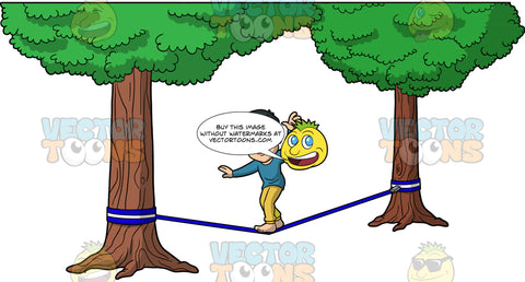 Kevin Trying To Slackline. An Asian man wearing a blue gray shirt and mustard yellow pants, trying to keep himself balanced as he walks across a dark blue slackline
