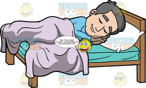 Bob Soundly Sleeping In His Bed. A mature man wearing blue pajamas, sleeping in his bed on his side underneath a lavender comforter