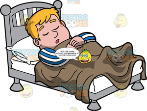Sam Sleeping On His Back. A man wearing blue and white striped pajamas sleeping in his bed on his bed underneath a brown blanket