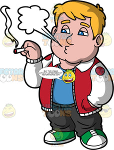 Sam Smoking A Joint. A chubby man wearing black pants, a red and white jacket over a blue shirt, and green sneakers, exhaling smoke while getting high smoking weed