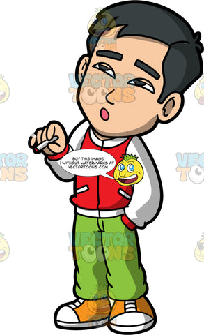 Kevin Getting High Smoking Marijuana. An Asian man wearing green pants, a red and white jacket, and sneakers, smoking pot