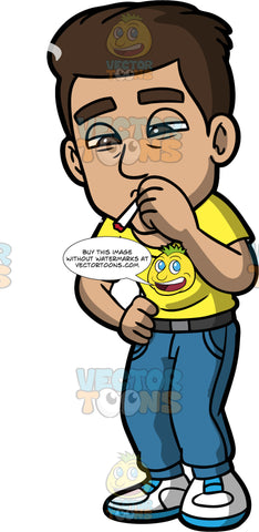 Gabriel Smoking Weed. A Hispanic man wearing blue pants, a yellow t-shirt, and sneakers, getting high smoking a joint