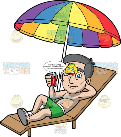 Bob Sitting Outside On A Summer Day. An older man wearing green swim trunks, relaxing on a lounge chair under a rainbow coloured umbrella, holding a drink in one hand