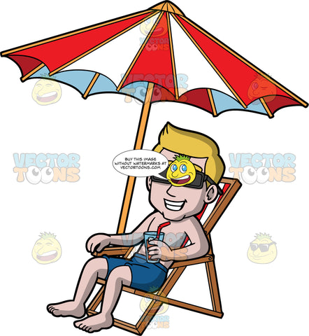 Matthew Sitting By The Pool Catching Some Rays. A man with dark blonde hair wearing dark blue swim trunks and sunglasses, sitting in a red an white striped beach chair under a red and white umbrella, holding a cold drink in one hand and smiling