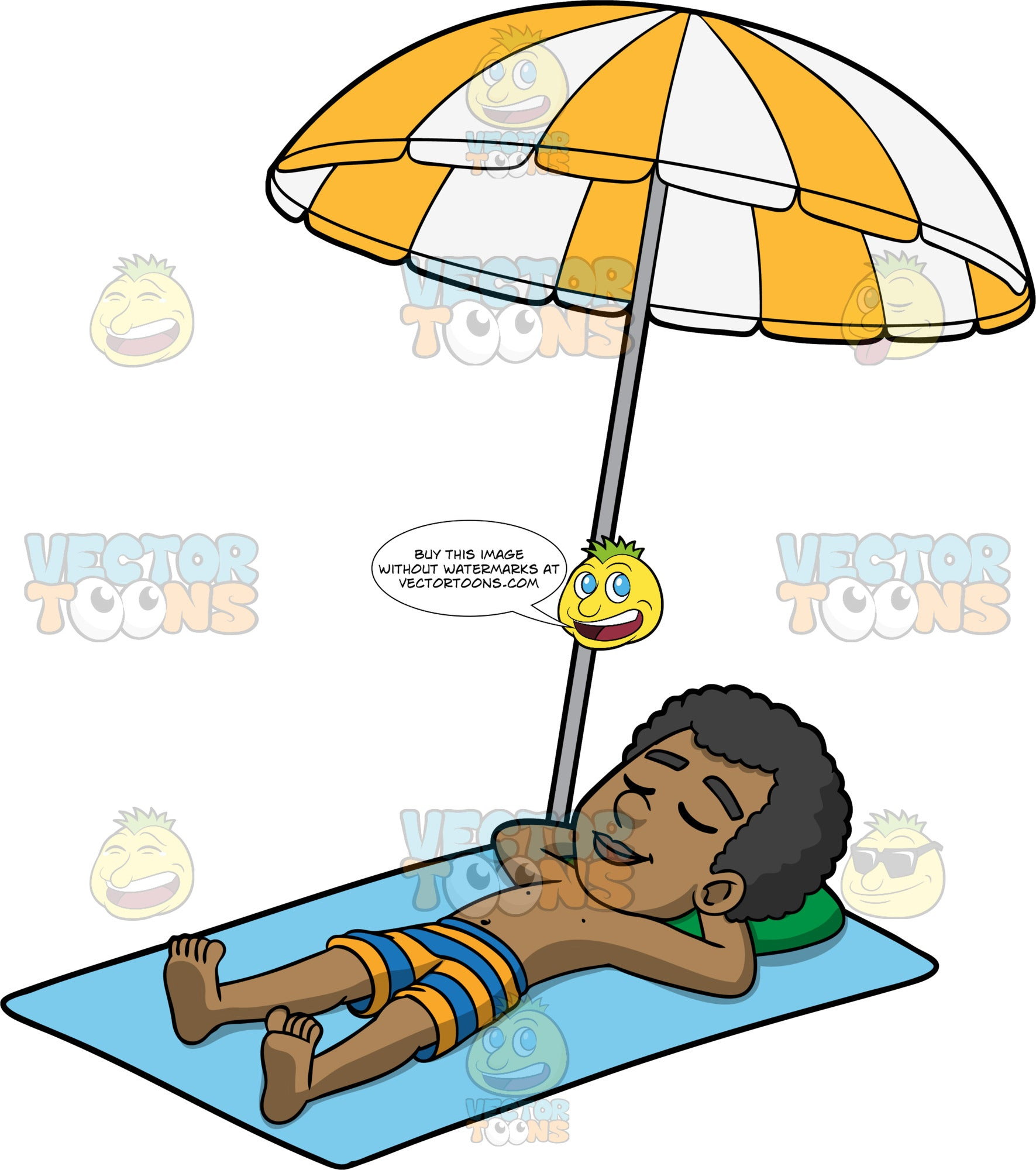 Jimmy Enjoying A Day In The Sun. A black man wearing orange and blue striped swim trunks, lying on his back on a blue beach towel under a yellow and white striped umbrella, with his eyes closed and his hands behind his head