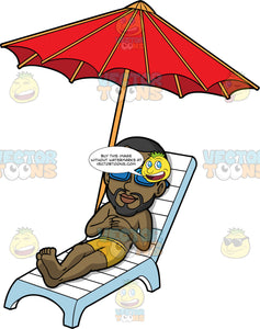 Calvin Relaxing In The Sun. A black man with a beard wearing mustard yellow swim trunks and sunglasses, lying on a white lounge chair under a red umbrella enjoying the hot sun