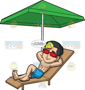 Kevin Enjoying A Sunny Day. An Asian man wearing blue swim trunks and red sunglasses, lying down on a brown lounge chair under a green umbrella with his hands behind his head