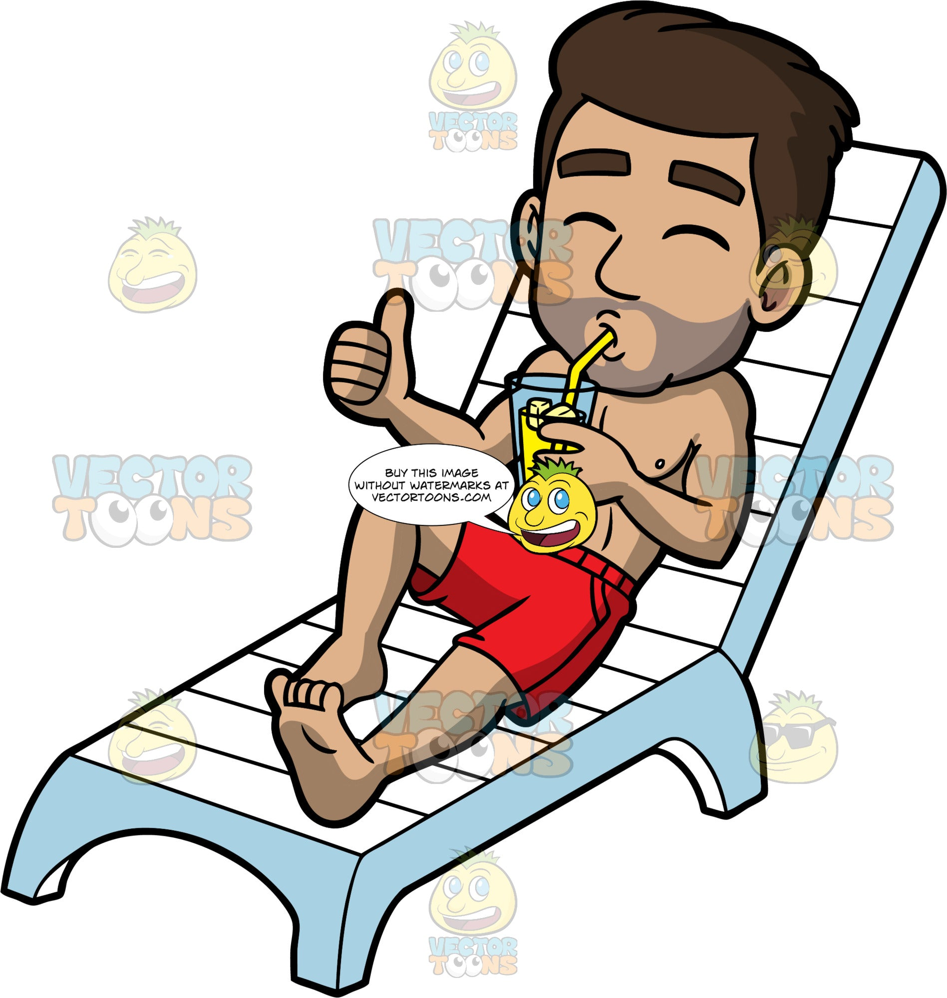 Gabriel Sipping A Drink In The Sun. A Hispanic man wearing red swim trunks, lying down on a white lounge chair, sipping on a cold drink and giving the thumbs up