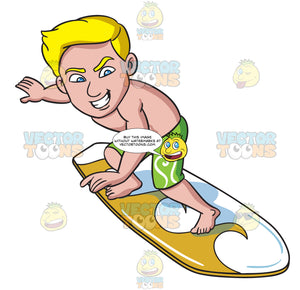 A Surfer Guy Riding With Thrill