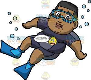 James Floating Underwater. A black man wearing a dark blue wet suit, blue flippers, and goggles, holding his breath and floating underwater