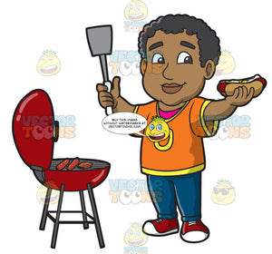 A Black Man Grilling Sausage And Burgers During A Tailgate Party