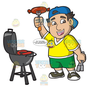A Happy Male Tailgater Grilling Hot Dogs