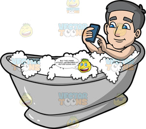Bob Playing With His Cell Phone In The Tub. An older man with gray hair and blue eyes, lying in a bathtub filled with bubbles and using his cell phone