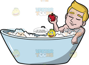 Matthew Eating An Apple In The Bathtub. A man with dark blonde hair lying in a bathtub filled with bubbles, closing his eyes and holding an apple in his one hand