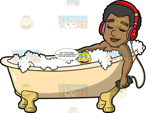 Jimmy Listening To Music In The Tub. A black man closing his eyes and lying down in a bath filled with bubbles, listening to music on his headphones