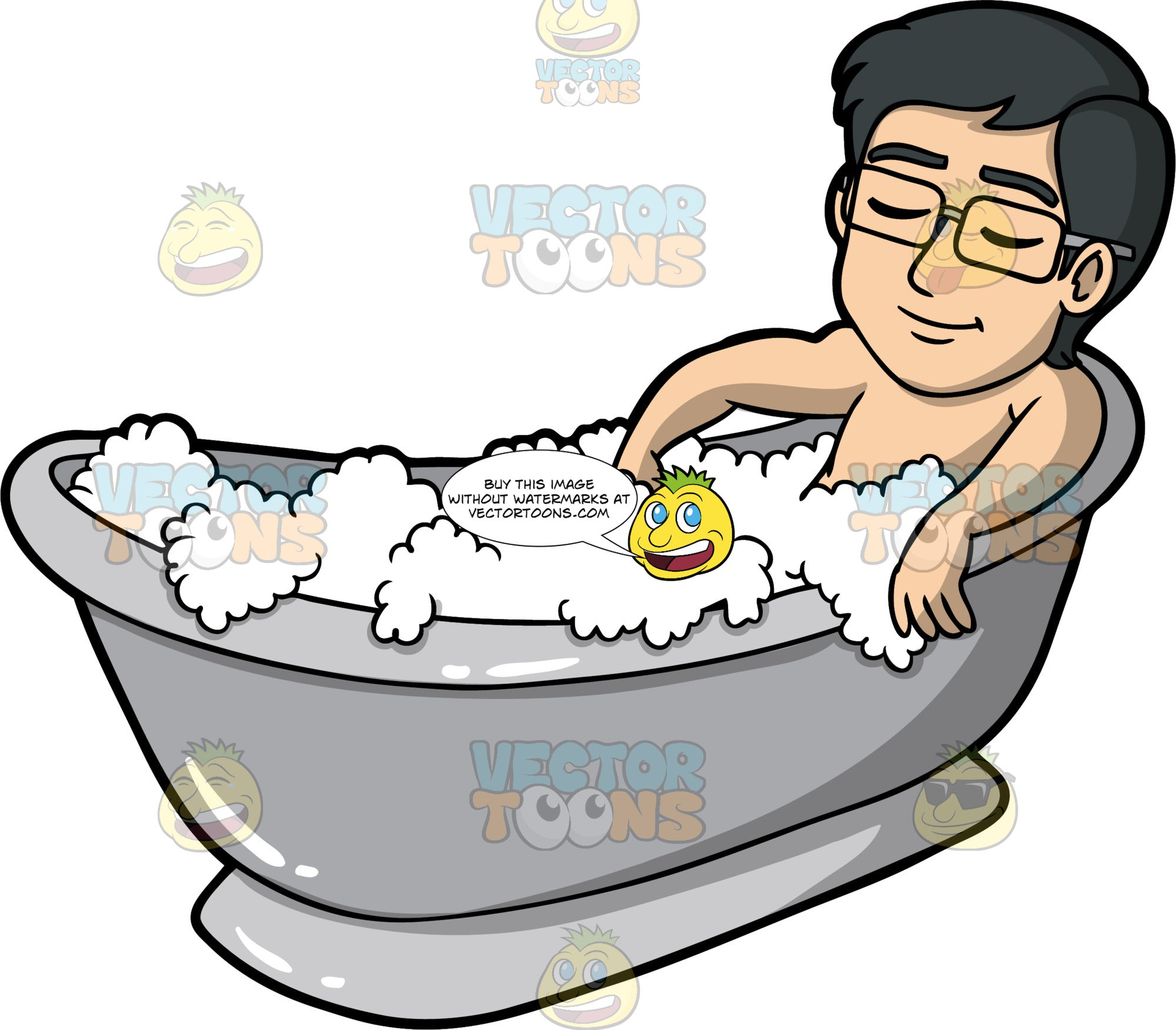 Simon Having A Relaxing Bath. An Asian man wearing eyeglasses, lying in a tub filled with bubbles, closing his eyes and relaxing