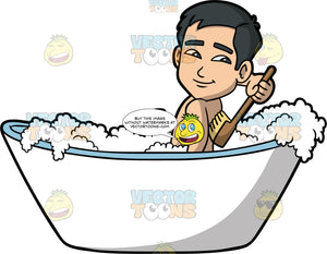 Kevin Scrubbing His Back In The Bathtub. An Asian man sitting in a bath filled with bubbles, using a brush with a long handle to scrub his back