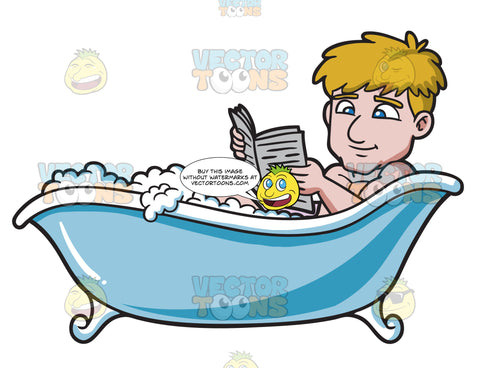 A Man Reading Newspaper In A Tub