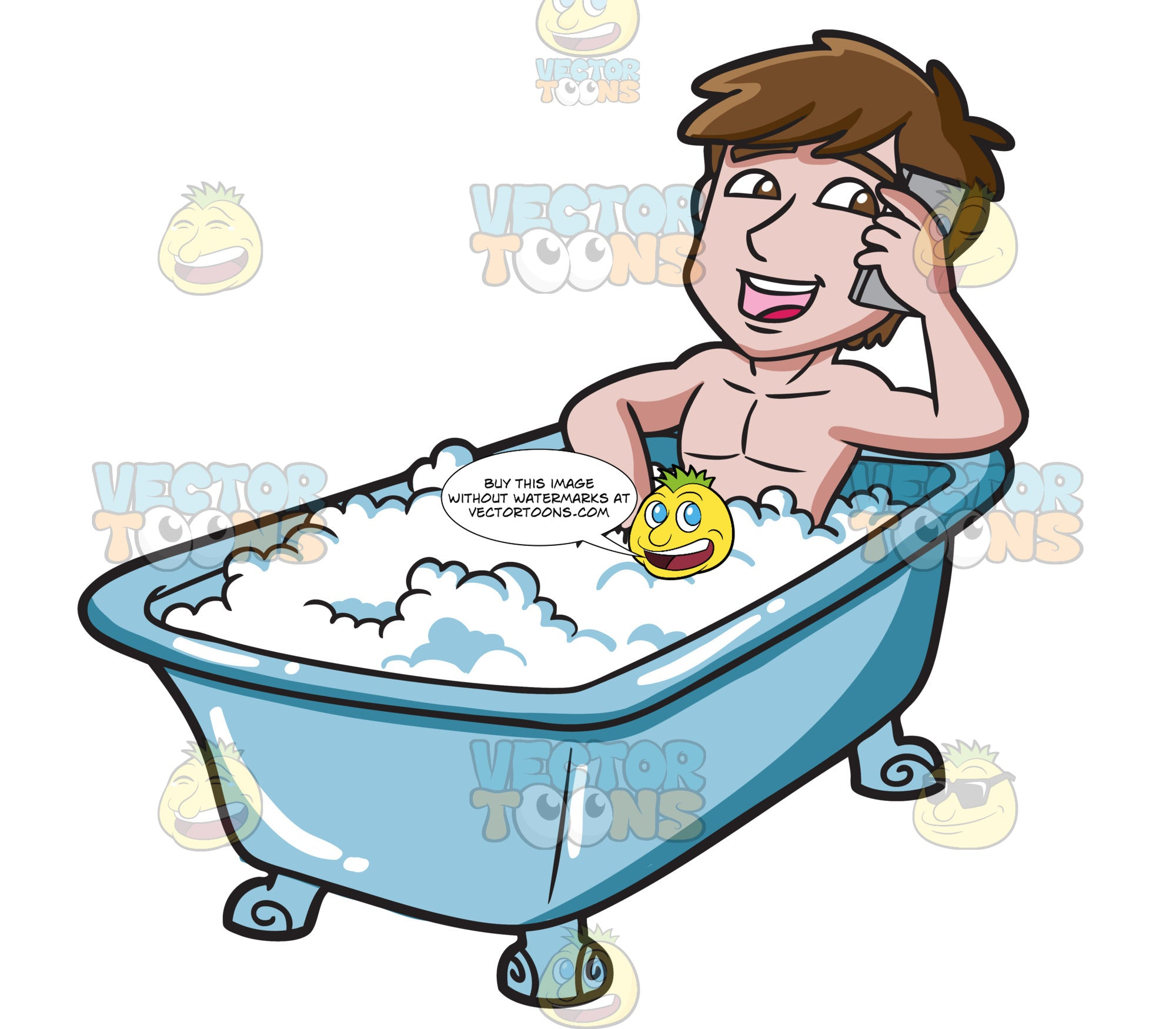 A Man Using His Cellphone In A Tub