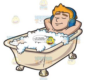 A Man Listening To Music In A Tub