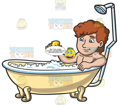 A Man Playing A Rubber Ducky In A Bathtub