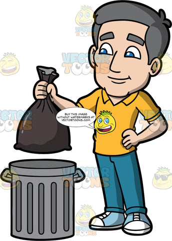 Bob Throwing Out The Garbage. A mature man wearing blue pants, a yellow shirt, and blue and white shoes, putting a bag of garbage into a metal trash can