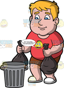 Sam Putting Bags Of Garbage Into A Trash Can. A chubby man wearing brown shorts, a red t-shirt, and white shoes, putting two bags of garbage into a metal trash bin
