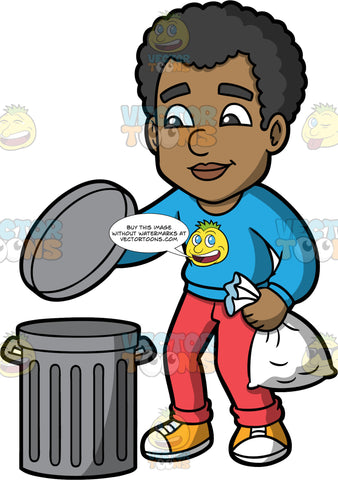 Jimmy Taking Out The Garabge. A black man wearing red pants, a long sleeve blue shirt, and yellow and white running shoes, putting a bag of garbage into a metal trash can
