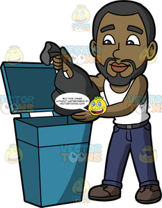 Calvin Throwing Out A Bag Of Garbage. A black man with a beard wearing dark blue pants, a white tank top, and black shoes, putting a bag of garbage into a blue trash bin