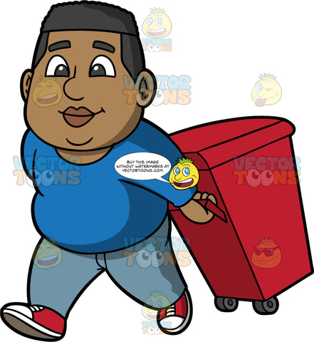 James Taking A Garbage Bin Out To The Curb. A black man wearing light blue pants, a long sleeve blue shirt, and red shoes, taking a red garbage bin on wheels out the curb