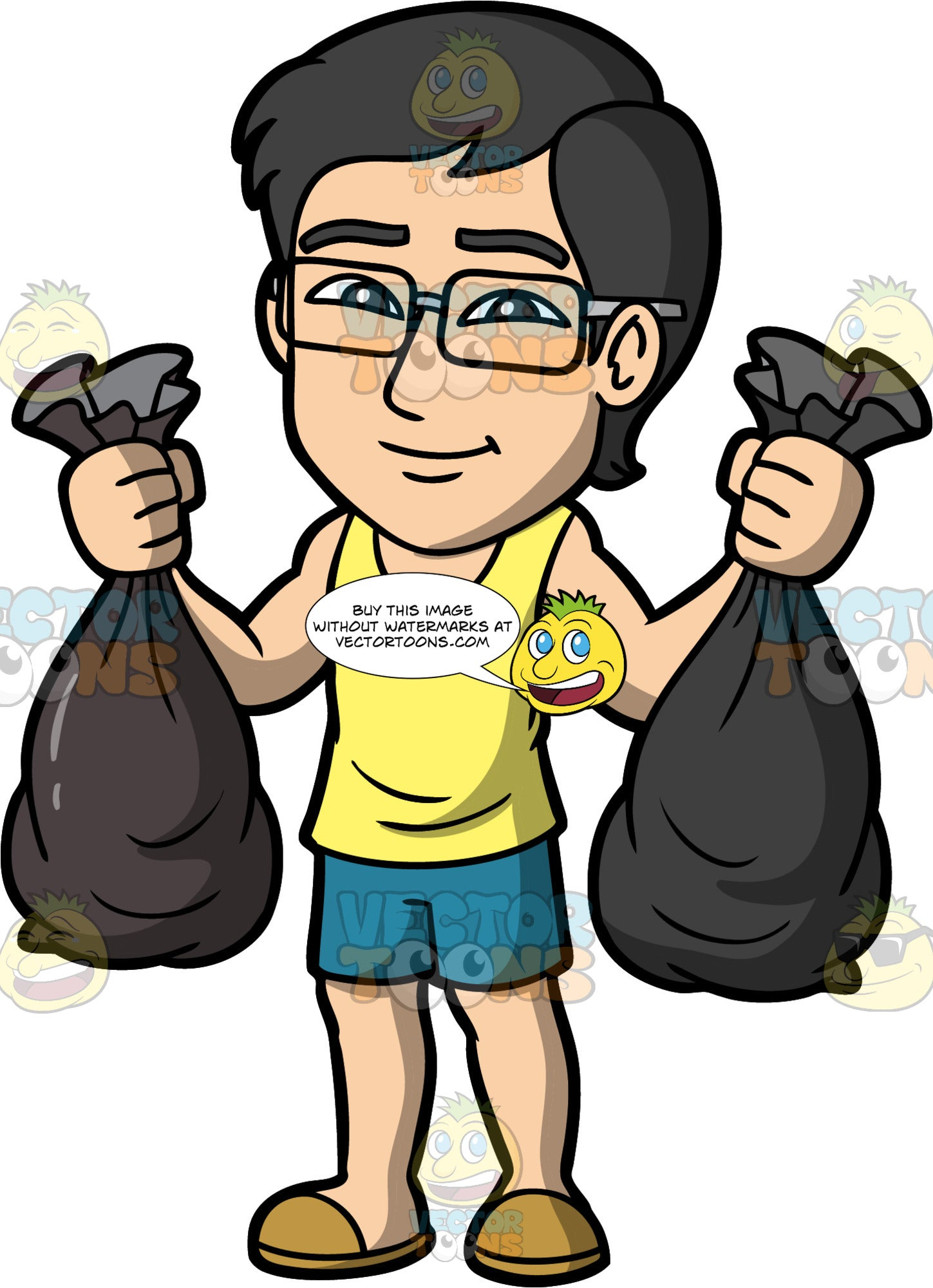 Simon Taking Out The Trash. An Asian man wearing blue shorts, a yellow tank top, slip on shoes, and eyeglasses, carrying two bags of garbage