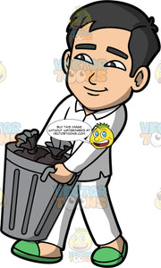 Kevin Taking The Trash Out. An Asian man wearing white pajamas and green slippers, carrying a metal trash can filled with garbage bags out to the curb