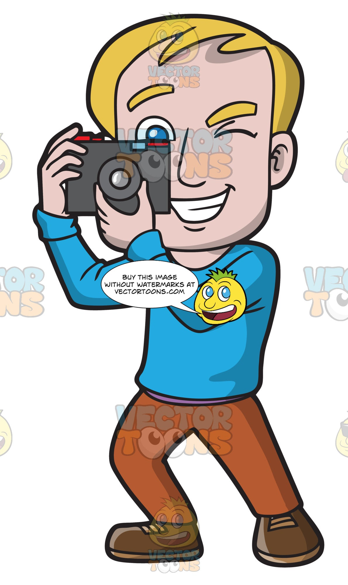 A Happy Man Taking Photos – Clipart Cartoons By VectorToons