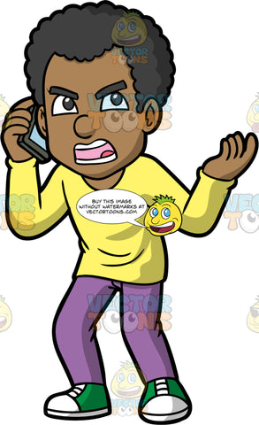 Jimmy Getting Mad At Someone On The Phone. A black man wearing purple pants, a long sleeve yellow shirt, and green and white sneakers, standing with an angry expression on his face as he speaks with someone on his cellphone