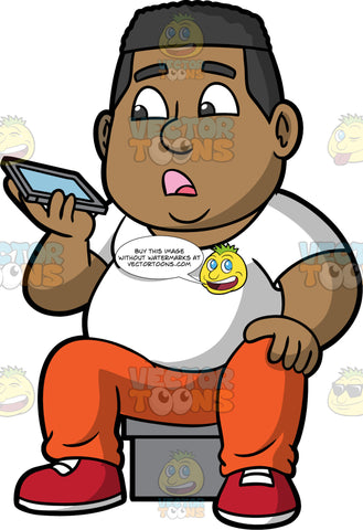 James Talking To Someone On His Mobile Phone. A chubby black man wearing orange track pants, a white t-shirt, and red running shoes, sitting on a stool and speaking with someone on his cellphone using the speaker phone