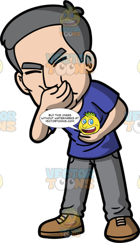 Bob Trying Not To Vomit. A mature man wearing gray jeans, a blue t-shirt, and brown shoes, standing and holding his stomach with one and hand, and his other hand over his mouth as he tries not to throw up