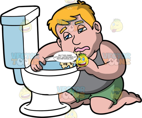 Sam Hugging The Toilet After Throwing Up. A man wearing green shorts and a gray tank top, kneeling on the floor, clinging to the toilet, with vomit on the toilet seat and some on his face