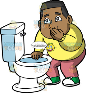 James About To Vomit In The Toilet. A black man wearing pink pants, a yellow sweater, and green shoes, standing over a toilet and holding his hand against his mouth trying not to throw up