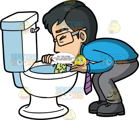 Simon Throwing Up Into A Toilet. An Asian man wearing gray pants, a blue shirt, purple tie, and black shoes, bent over and puking into a toilet