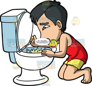 Kevin Vomiting Into A Toilet. An Asian man wearing yellow shorts and a red tank top, kneeling over a toilet and throwing up