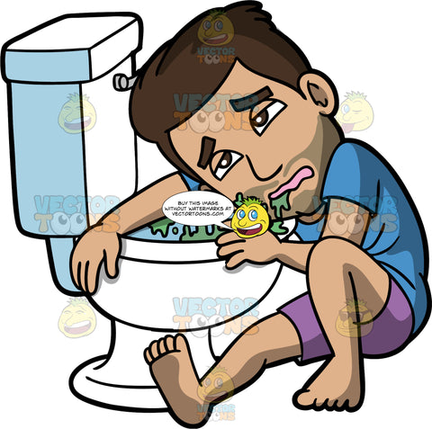 Gabriel Sick And Puking In The Toilet. A Hispanic man wearing purple shorts and a blue t-shirt, sitting on the floor clinging to the toilet and resting his head on his arm after throwing up in the toilet