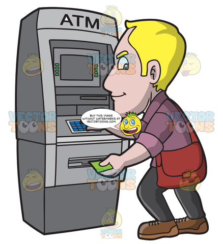 A Man Keying In An Atm Transaction