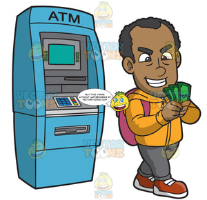 A Black Guy Counting Money After Withdrawing From A Bank Machine