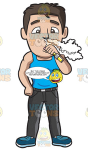 A Muscular Man Inhaling Vapor