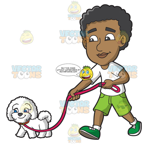 A Black Man Walking A Dog